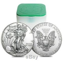 Roll of 20 2020 1 oz Silver American Eagle $1 Coin BU (Lot, Tube of 20)