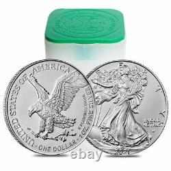 Roll of 20 2021 1 oz Silver American Eagle $1 Coin BU Type 2 (Lot, Tube of 20)