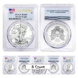 Sale Price Lot of 5 2019 1 oz Silver American Eagle $1 Coin PCGS MS 69 FS